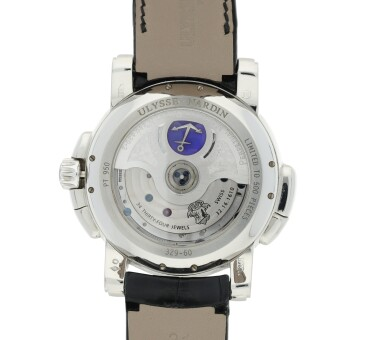 View 4. Thumbnail of Lot 116. ULYSSE NARDIN | REFERENCE 329-60  A LIMITED EDITION PLATINUM AUTOMATIC PERPETUAL CALENDAR DUAL TIME WRISTWATCH WITH CHRONOGRAPH, CIRCA 2010.
