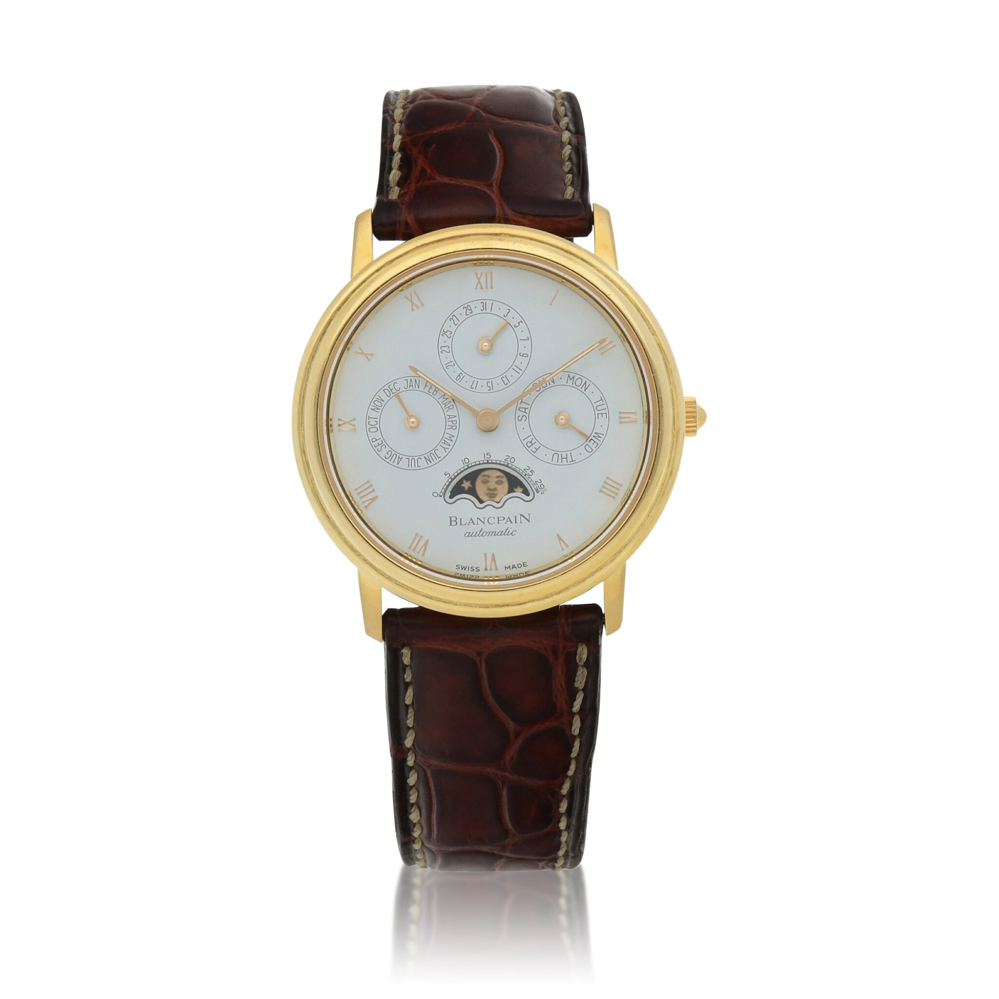 View full screen - View 1 of Lot 67. Yellow gold perpetual calendar wristwatch with moon phases Circa 1995.