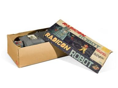 View 5. Thumbnail of Lot 287. A rare TM (Masudaya) battery-operated tin-plate Radicon Robot, Japan, circa 1958.