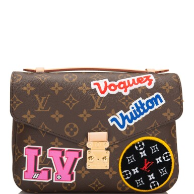 View 2. Thumbnail of Lot 114.  Louis Vuitton Monogram Patches Pochette Metis of Coated Canvas with Golden Brass Hardware.