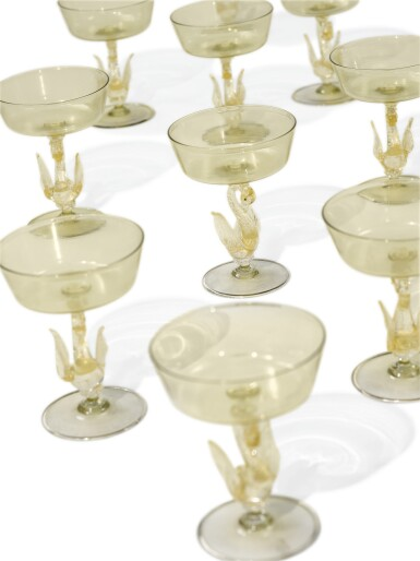 View 2. Thumbnail of Lot 329. A SET OF TEN VENICE YELLOW-TINTED CHAMPAGNE OR SWEETMEAT GLASSES, LATE 19TH/ 20TH CENTURY.