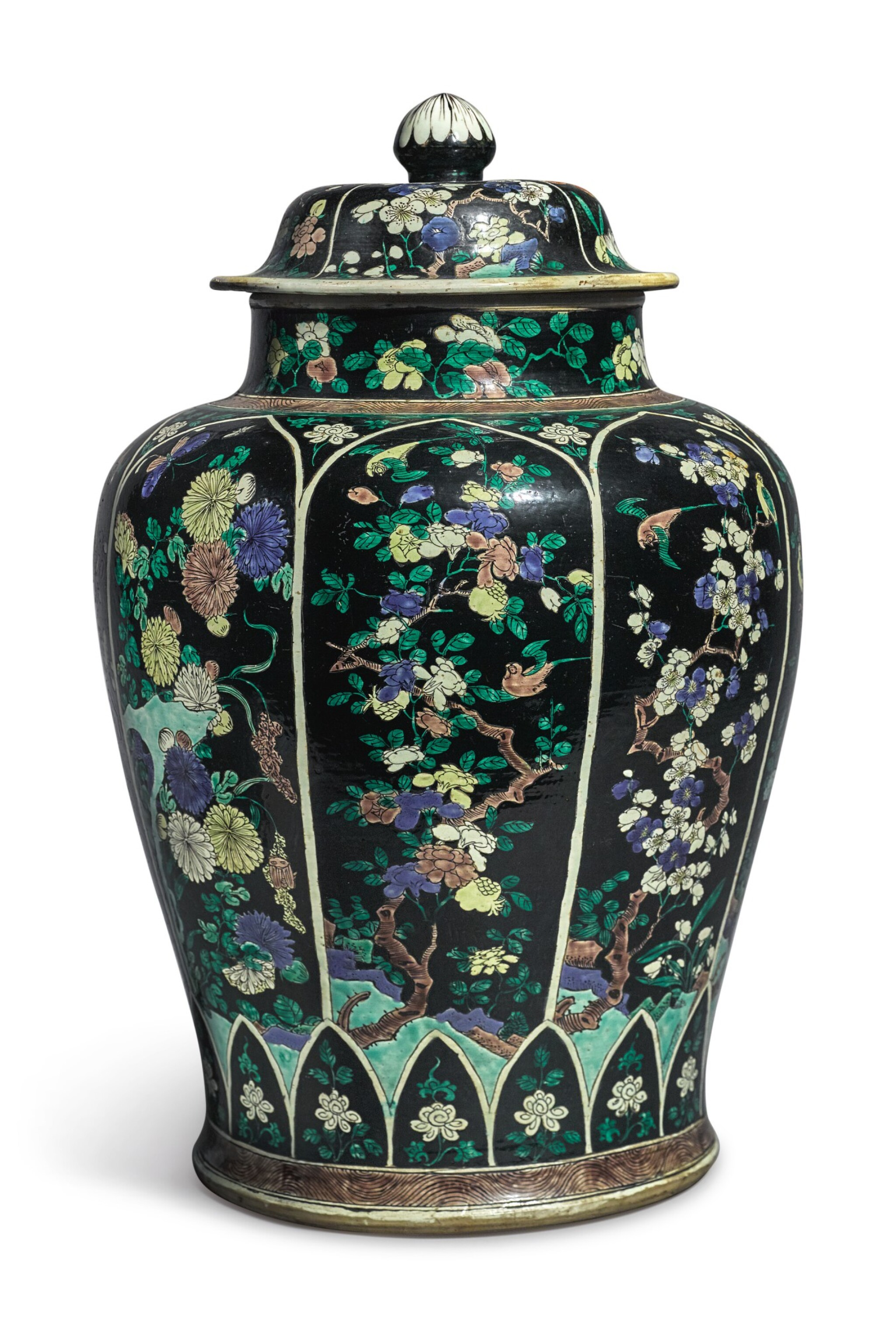 View full screen - View 1 of Lot 1035. A LARGE FAMILLE-NOIRE 'BIRD AND FLOWER' BALUSTER JAR AND COVER, THE PORCELAIN 18TH CENTURY, THE ENAMELS LATER-ADDED.