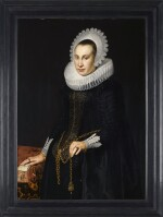 CORNELIS VAN DER VOORT | PORTRAIT OF A YOUNG WOMAN, THREE-QUARTER-LENGTH, IN A BLACK DAMASK DRESS WITH A RUFF AND WHITE LACE HEAD-PIECE