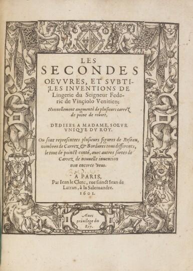 View 5. Thumbnail of Lot 13. Les singvliers... povrtraicts d'ouurages de Lingerie. 1589. + Les secondes oevvres de Lingerie..