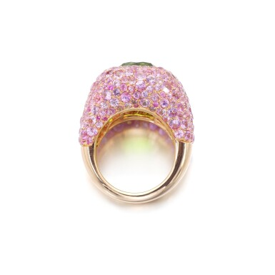 View 3. Thumbnail of Lot 6. MICHELE DELLA VALLE | PERIDOT AND PINK SAPPHIRE RING.