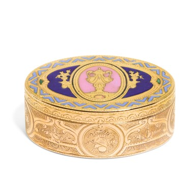 View 1. Thumbnail of Lot 314. A small gold and enamel snuff box, Hanau, circa 1780 and later.