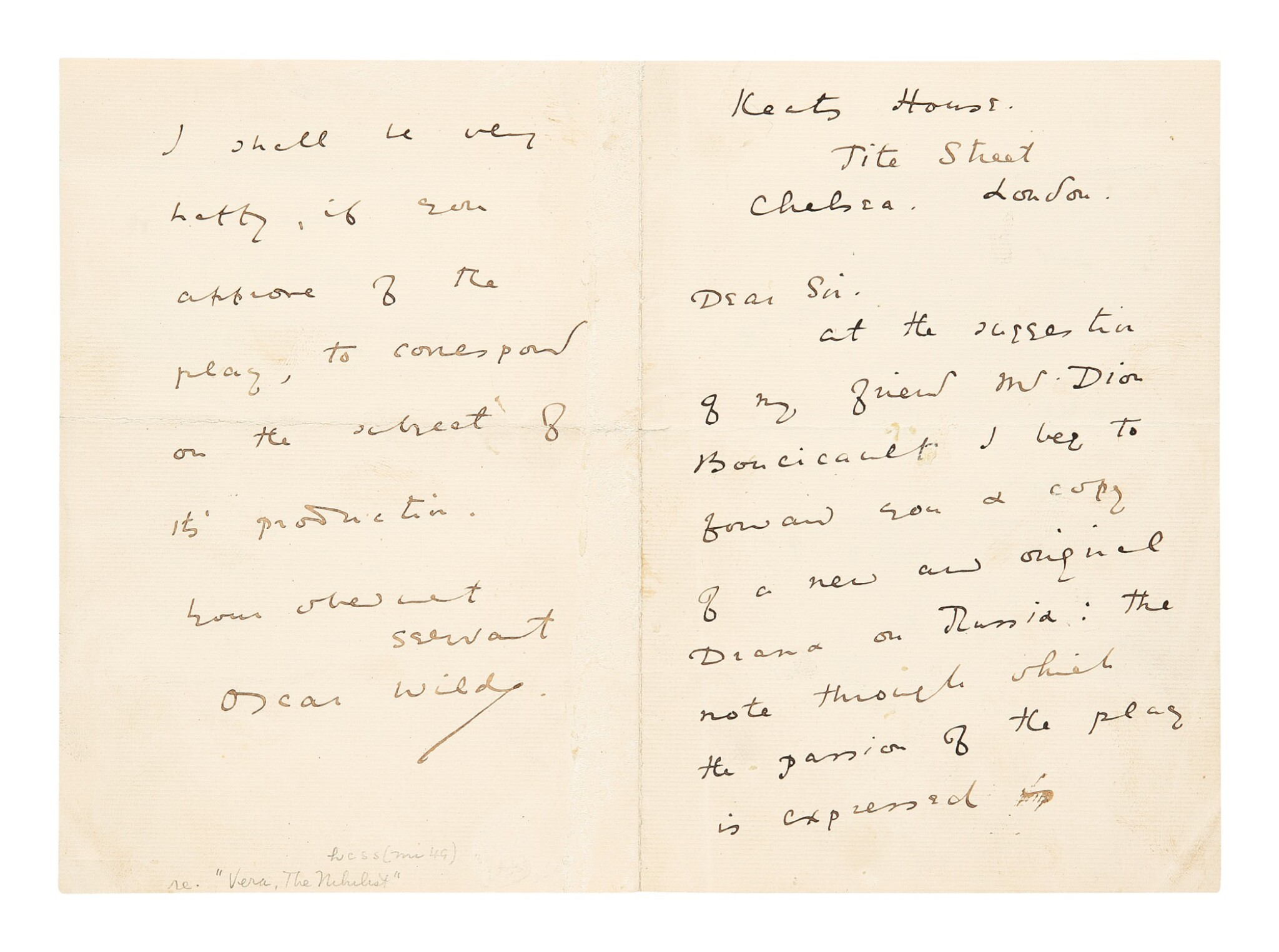 View full screen - View 1 of Lot 177. Wilde, Oscar | A previously unlocated letter showing Wilde's earliest efforts to have his plays staged.
