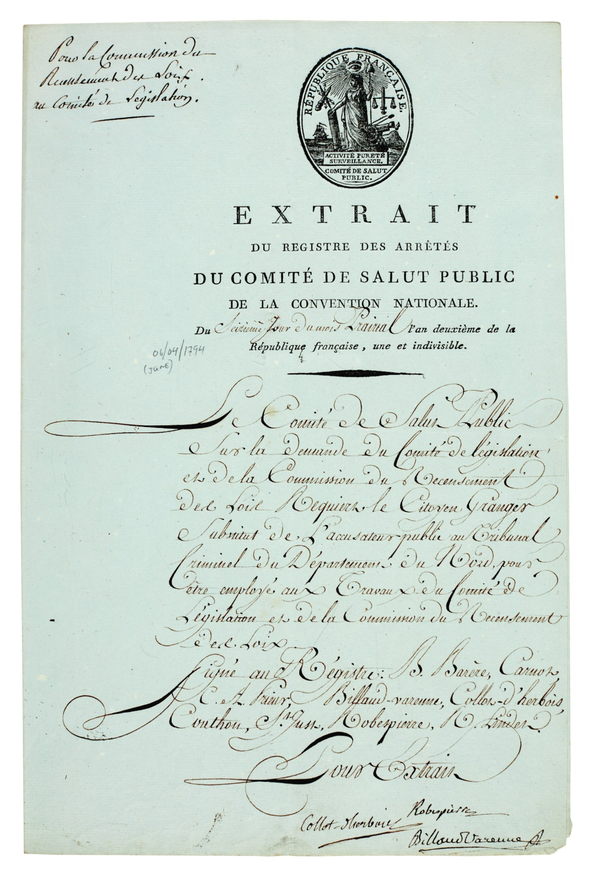 View full screen - View 1 of Lot 111. ROBESPIERRE   document signed, also signed by two other members of the Committee for Public Safety, 1794.