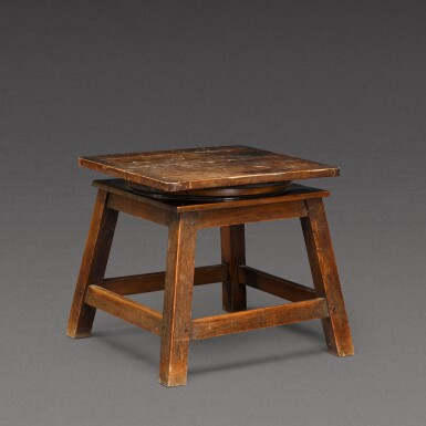 View 1. Thumbnail of Lot 175. A sculptor's walnut tripod low stand, probably French, early 20th century.