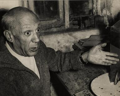 ANDRÉ VILLERS | 'PICASSO AND HIS STUDIO', 1957-58, GROUP OF FOUR PHOTOGRAPHS