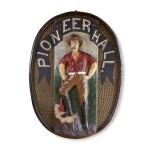 IMPORTANT CARVED AND POLYCHROME PAINT-DECORATED OVAL WOOD FIREHOUSE TRADE SIGN, THOMAS HANFORD BOYCE, MOUNT VERNON, NEW YORK, CIRCA 1880