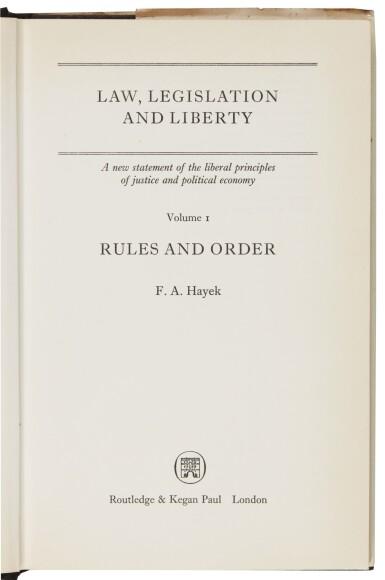 HAYEK, LAW, LEGISLATION AND LIBERTY, INSCRIBED, 1973-79