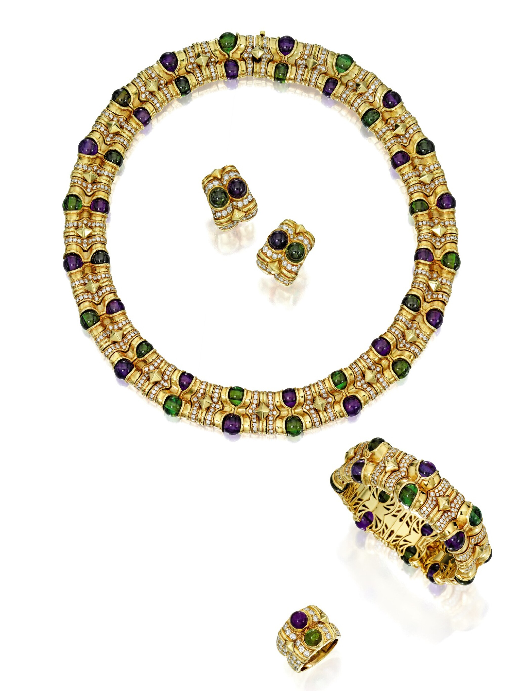 View full screen - View 1 of Lot 584. SUITE OF GOLD, AMETHYST, TOURMALINE AND DIAMOND JEWELS, BULGARI | 黃金鑲紫水晶配璧璽及鑽石首飾套裝,寶格麗.