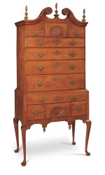 VERY FINE QUEEN ANNE CARVED AND FIGURED MAPLE SCROLL-TOP HIGH CHEST OF DRAWERS, NEW ENGLAND, CIRCA 1770
