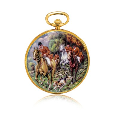 View 3. Thumbnail of Lot 2186. Patek Philippe | Reference 823/003, A unique, highly important and exceptional yellow gold hunting case watch with double sided enamel miniature, painted by Madame Marthe Bischoff after a painting by Carle Vernet, retailed by Gübelin and accompanied by original Certificate of Origin, sales invoice and presentation box, Made in 1976 | 百達翡麗 | 型號823/003  獨一無二、非常重要及非凡黃金獵殼懷錶,配 Madame Marthe Bischoff 摹 Carle Vernet 油畫作品的雙面微繪琺瑯,由 Gübelin 發行,附帶原廠證書、收據及盒子,1976年製.