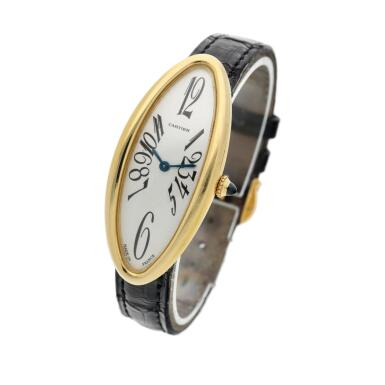 View 2. Thumbnail of Lot 93. Reference 2605 Baignoire Allongee  A large yellow gold oval wristwatch, Circa 2005.