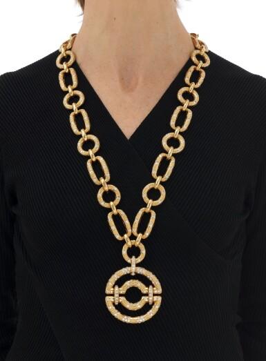 View 7. Thumbnail of Lot 90. Diamond Pendant-necklace (Collana con pendente in diamanti).