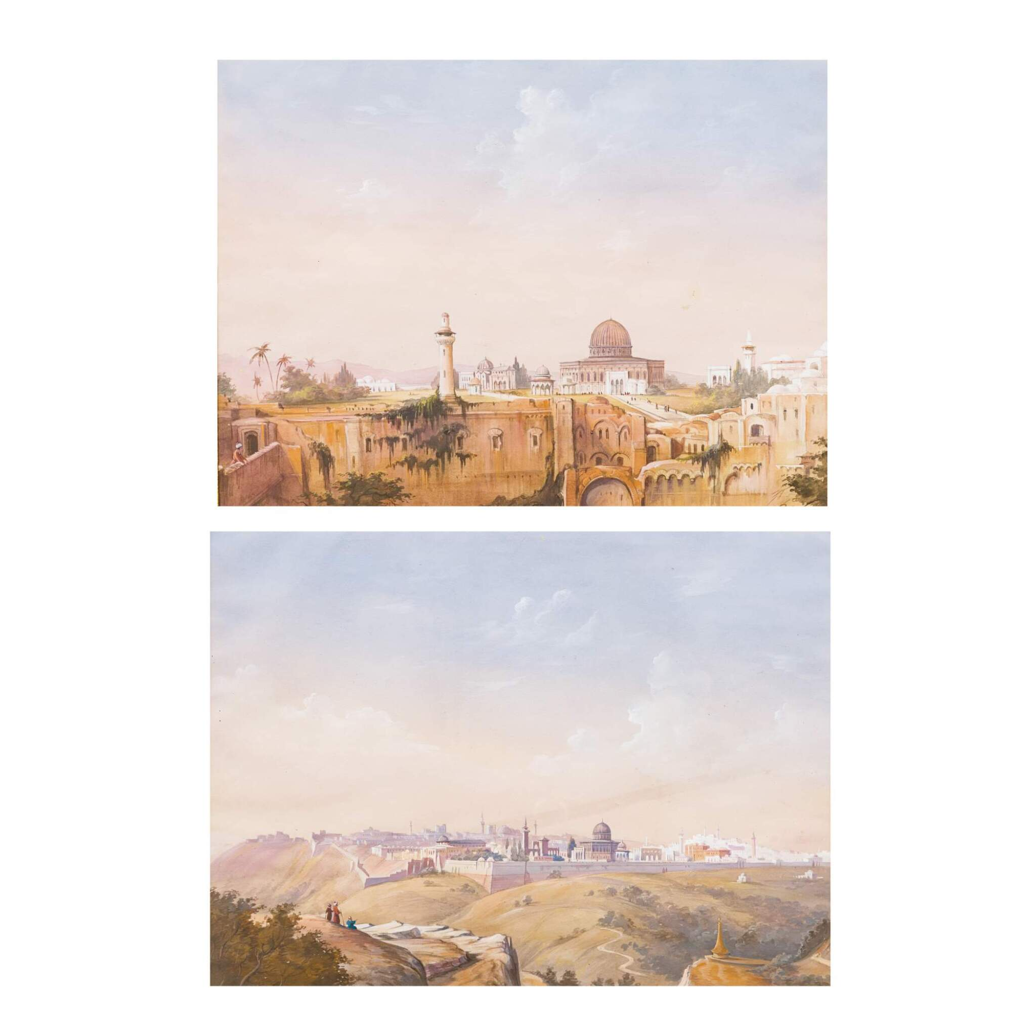 ECOLE FRANÇAISE DU DÉBUT DU XIXE SIÈCLE | VIEWS OF JERUSALEM WITH THE DOME OF THE ROCK  [VUES DE JÉRUSALEM AVEC LE DÔME DU ROCHER]