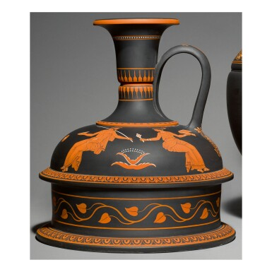 A WEDGWOOD BLACK BASALT 'ENCAUSTIC'-DECORATED VASE CIRCA 1800