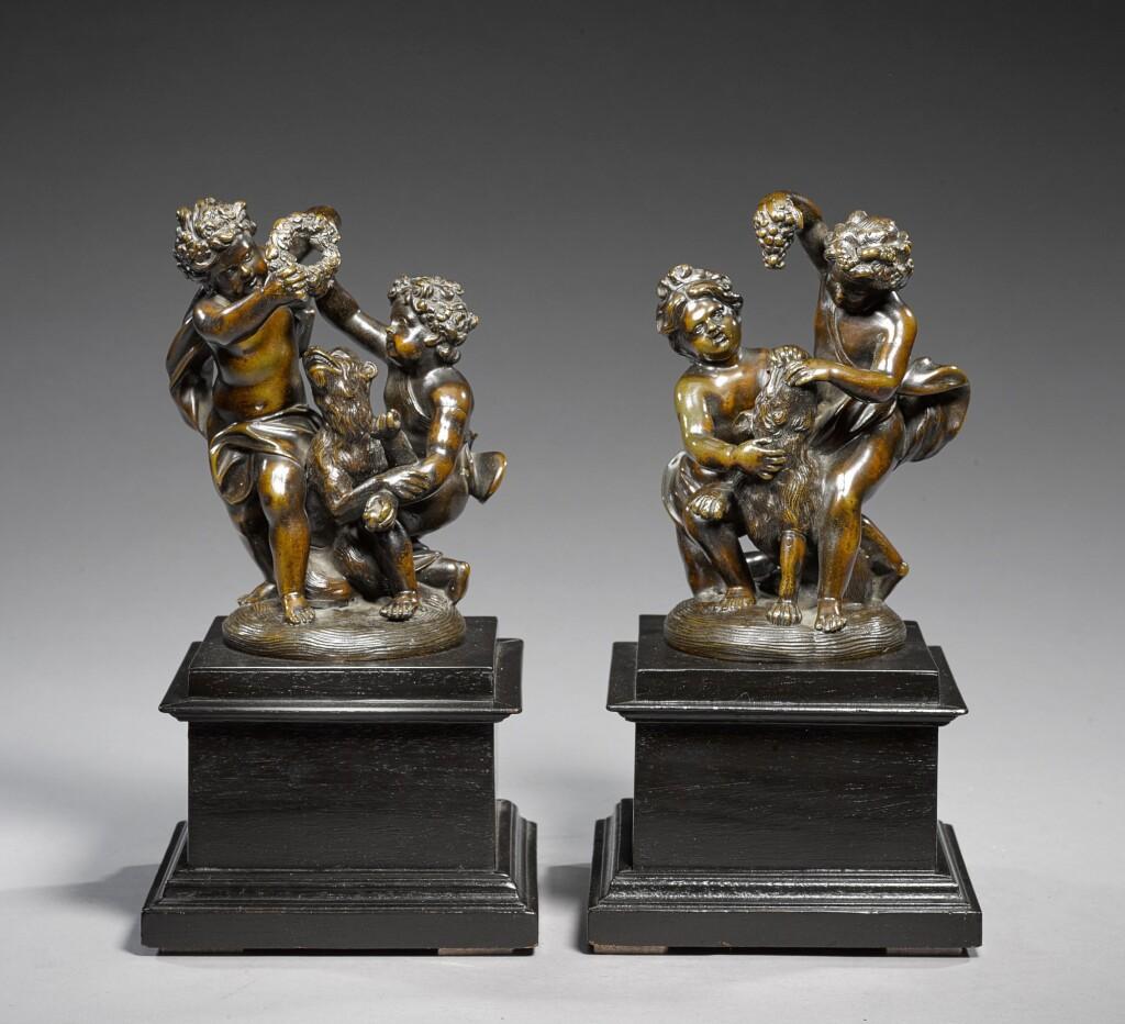 GUILLIELMUS DE GROF (1676-1742) | PAIR OF GROUPS WITH PUTTI REPRESENTING SEASONS