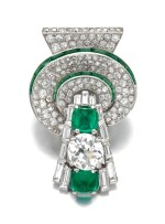 Diamond and emerald clip, 1930s | 鑽石配綠寶石別針
