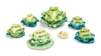 View 2. Thumbnail of Lot 157. FOUR PAIRS (JACOB PETIT FACTORY) CABBAGE-FORM PORCELAIN BOXES AND COVERS, CIRCA 1830-1850.