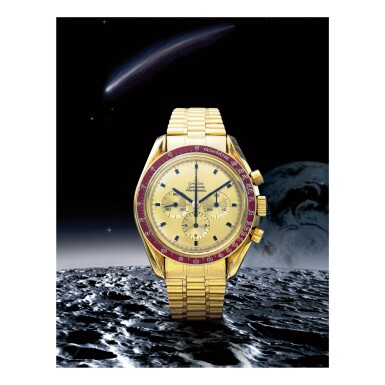 View 1. Thumbnail of Lot 13. OMEGA |  SPEEDMASTER REF 145.022-69 'APOLLO XI', A YELLOW GOLD CHRONOGRAPH WRISTWATCH WITH BRACELET, MADE IN 1969.