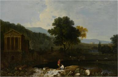 View 1. Thumbnail of Lot 46. An Italian river scene, with the Temple of Clitumnus and ruins, two figures and cows.