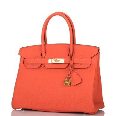 View 5. Thumbnail of Lot 138. Hermès Orange Poppy Birkin 30cm of Togo Leather with Gold Hardware.