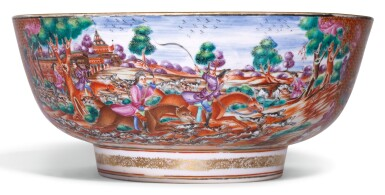 A FAMILLE-ROSE 'HUNTING SCENE' PUNCH BOWL QING DYNASTY, QIANLONG PERIOD