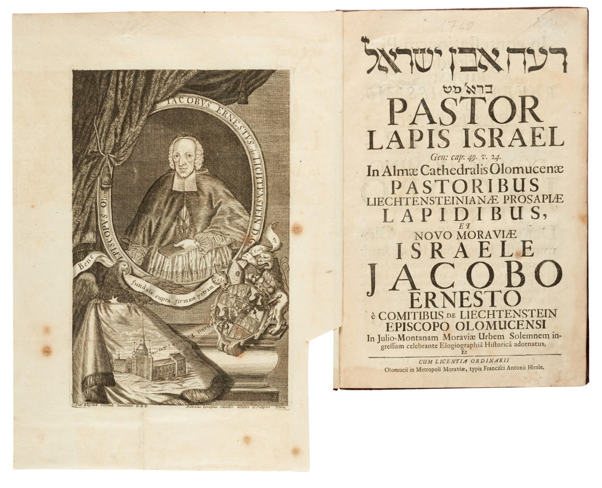 View full screen - View 1 of Lot 165. [Liechtenstein-Kastelkorn], Pastor lapis Israel in Almae Cathedralis Olomucenae, Olomouc, [1740], armorial calf.