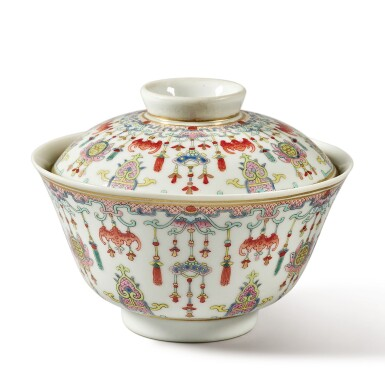 View 3. Thumbnail of Lot 175. A famille-rose 'bats and emblems' bowl and cover, Qing dynasty, Daoguang period | 清道光 粉彩博古圖蓋盌  《慎德堂製》款.