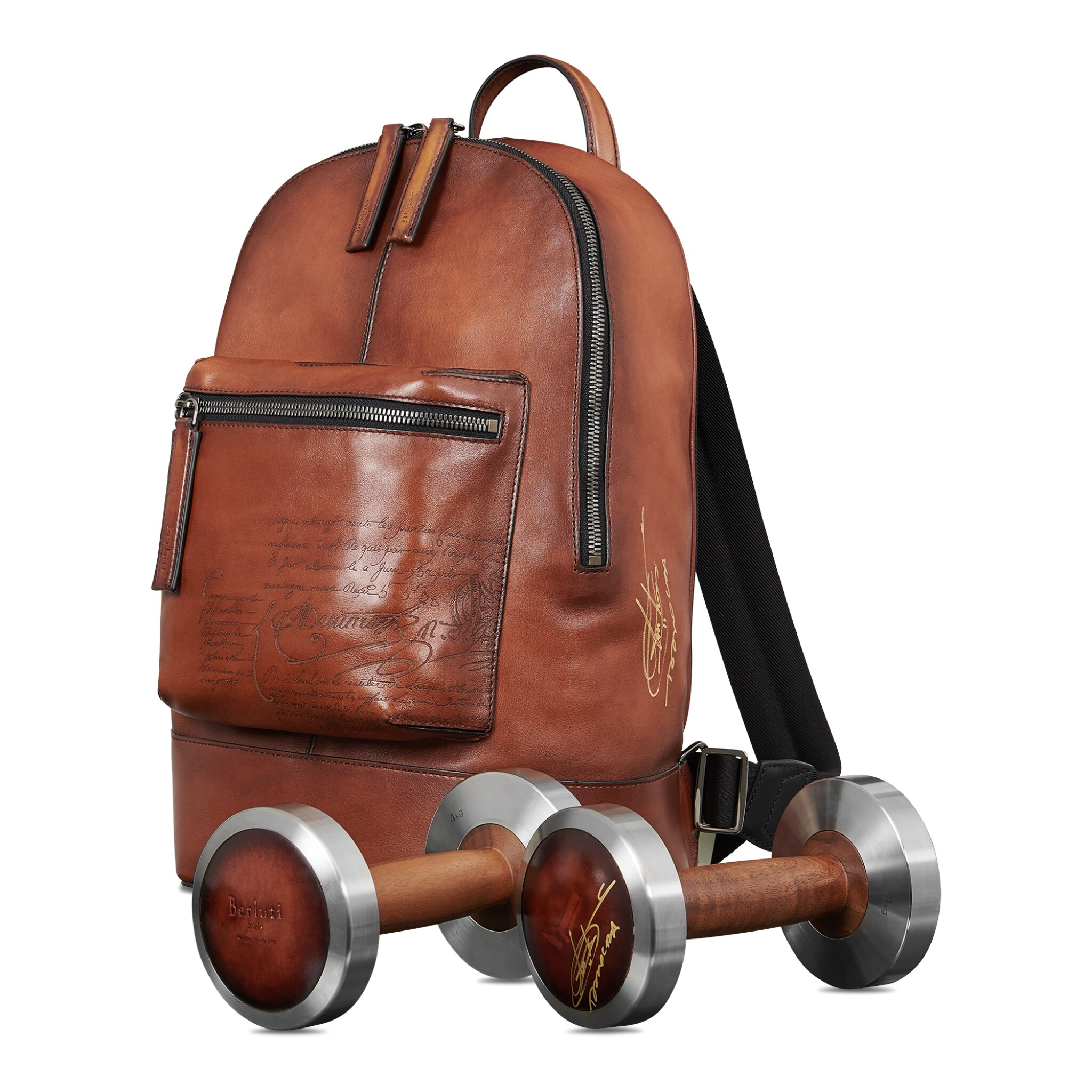 View full screen - View 1 of Lot 14. Berluti | Dumbbells and Backpack Volume Pm (Paires d'Halteres et Sac à Dos Volume Pm ) [2 Items / Articles].