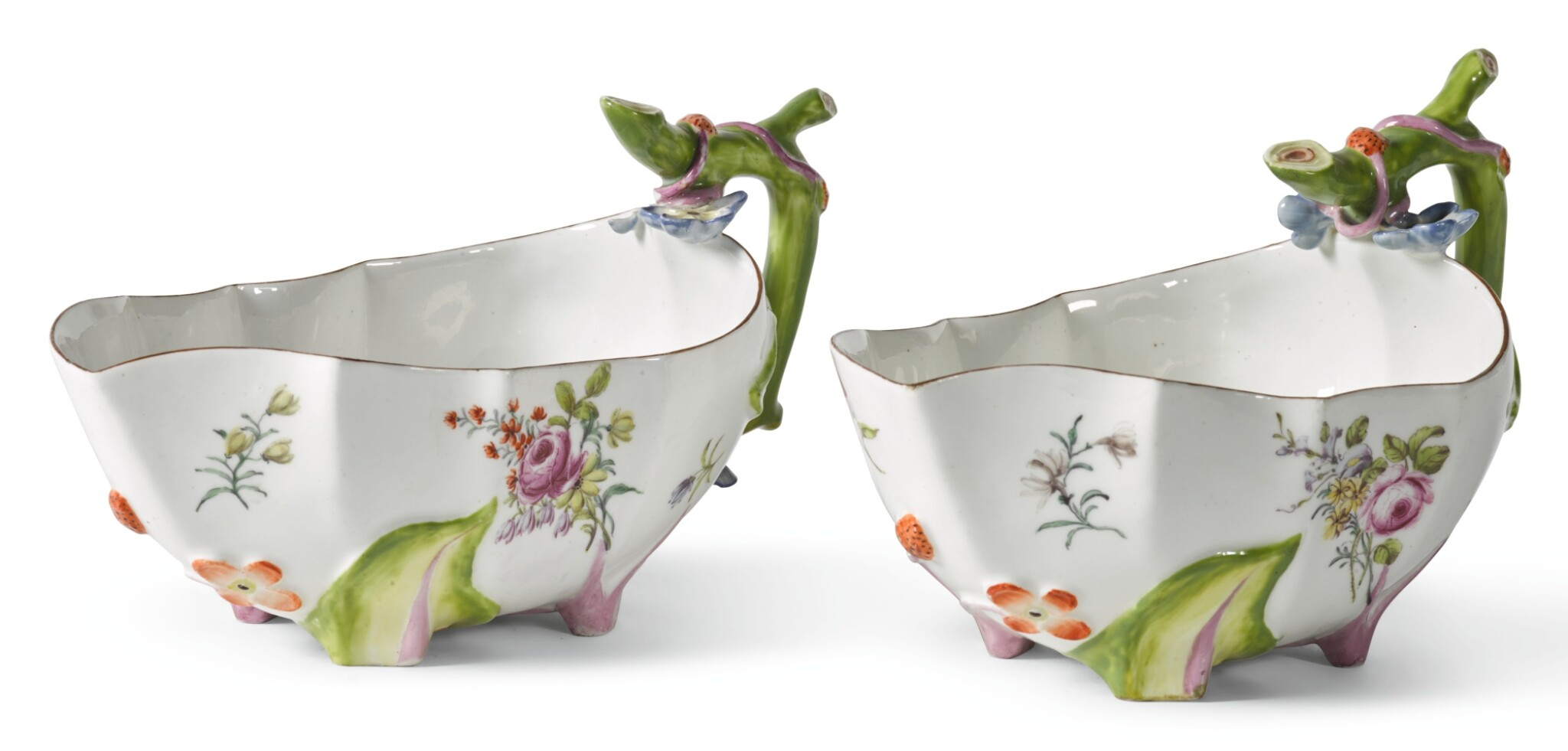 TWO CHELSEA STRAWBERRY-LEAF MOULDED SAUCEBOATS, CIRCA 1755