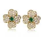 VAN CLEEF & ARPELS | PAIR OF EMERALD AND DIAMOND 'COSMOS' EARCLIPS, FRANCE
