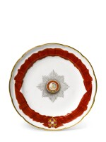 A porcelain plate from the service of The Order of St Alexander Nevsky, Imperial Porcelain Factory, St Petersburg, period of Alexander II (1855-1881)