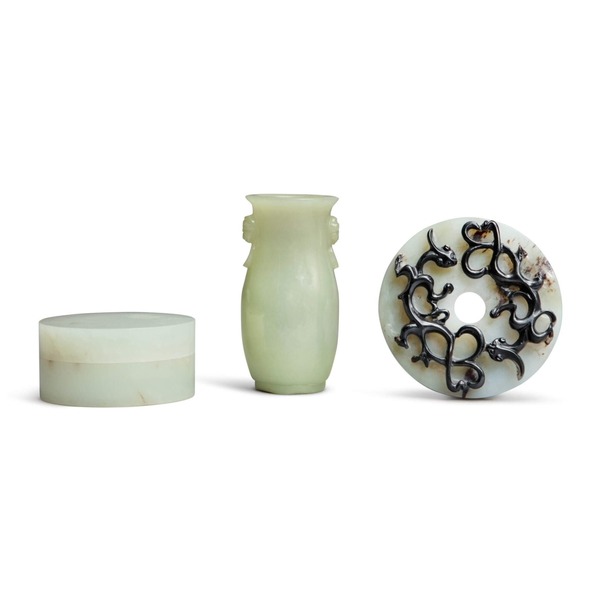 View full screen - View 1 of Lot 89. Three jade articles, Qing dynasty.