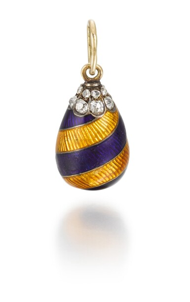 View 1. Thumbnail of Lot 7. A Fabergé jewelled gold and guilloché enamel egg pendant in the racing colours of Leopold de Rothschild, workmaster August Hollming, St Petersburg, circa 1910.