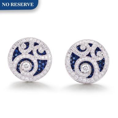 View 1. Thumbnail of Lot 1091. 'Diamond on Diamond' Pair of Sapphire and Diamond Cufflinks |  格拉夫| 'Diamond on Diamond' 藍寶石 配 鑽石 袖扣一對 (藍寶石及鑽石共重約2.80及2.60克拉).