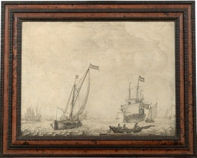 View 2. Thumbnail of Lot 32. A coastal scene with a three-master, a kaag on a broad reach and other small vessels, a penschilderij   《三桅船、後舷風行駛的帆船及小型輪船海岸風景鋼筆畫》.