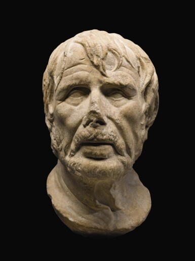 View 1. Thumbnail of Lot 39. A ROMAN MARBLE HEAD OF A GREEK POET, PROBABLY HESIOD, CIRCA 1ST CENTURY A.D..