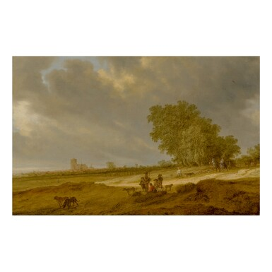 View 1. Thumbnail of Lot 109. SALOMON VAN RUYSDAEL   A DUNE LANDSCAPE WITH FIGURES AND A VIEW OF NIJMEGEN CATHEDRAL.