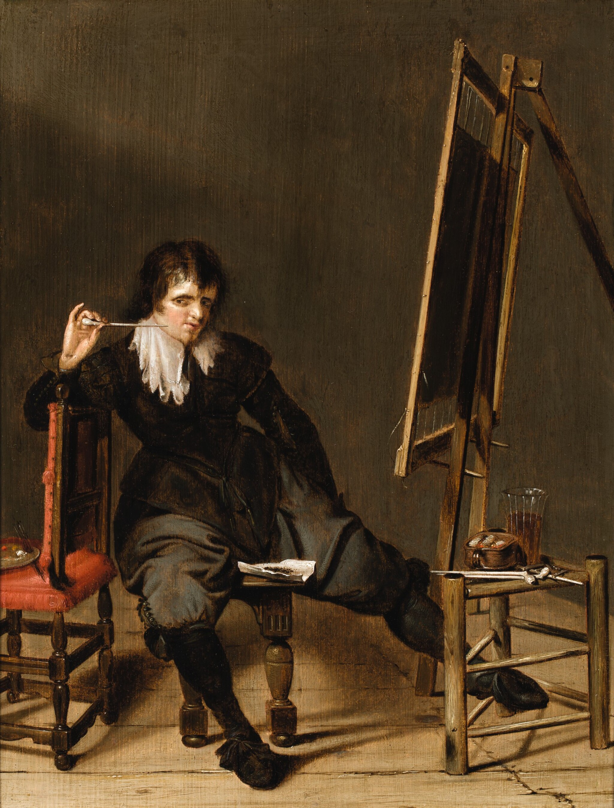 View full screen - View 1 of Lot 103. PIETER CODDE  |  AN ARTIST IN HIS STUDIO, SEATED ON A STOOL, IN FRONT OF AN EASEL, WITH A PIPE RAISED TO HIS MOUTH.