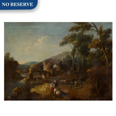View 1. Thumbnail of Lot 98. A wooded river landscape with ruins and figures.