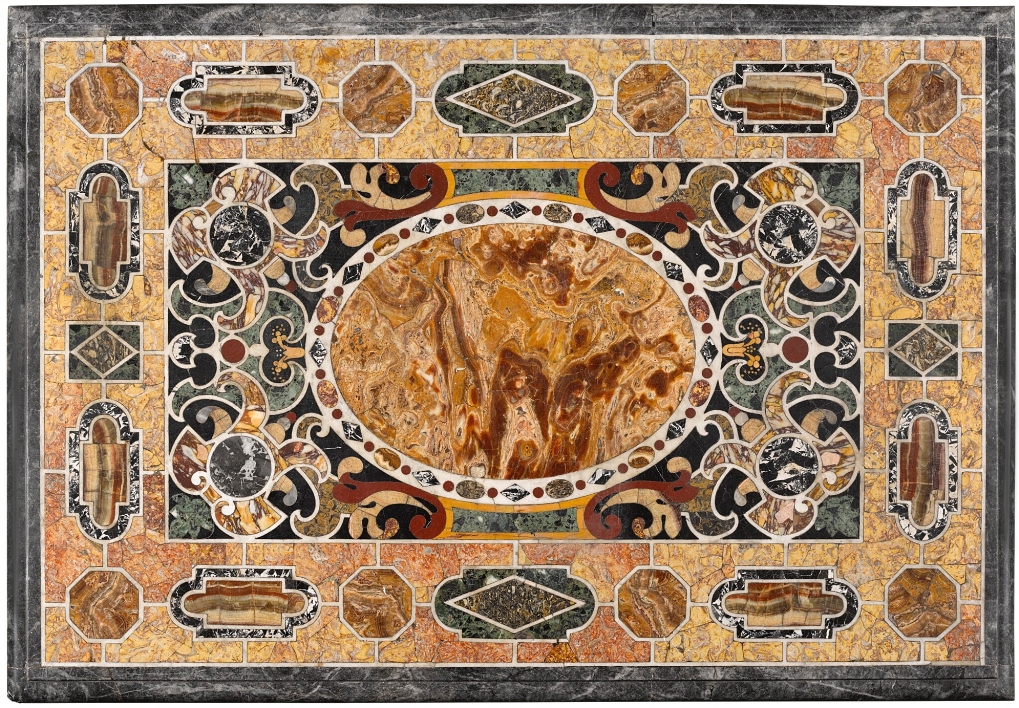 View full screen - View 1 of Lot 16. AN ITALIAN PIETRE TENERE AND PIETRA DURA TABLE TOP, ROME EARLY 17TH CENTURY.
