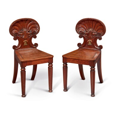 A PAIR OF GEORGE IV MAHOGANY HALL CHAIRS, POSSIBLY BY GILLOWS, RETAILED BY JAMES WINTER, SOHO, CIRCA 1825