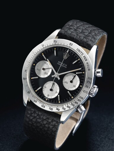 View 2. Thumbnail of Lot 4. ROLEX | REFERENCE 6239 'DOUBLE SWISS UNDERLINE' DAYTONA  A RARE STAINLESS STEEL CHRONOGRAPH WRISTWATCH WITH REGISTERS, CIRCA 1963.