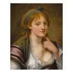 JEAN-BAPTISTE GREUZE   PORTRAIT OF A YOUNG WOMAN, BUST LENGTH