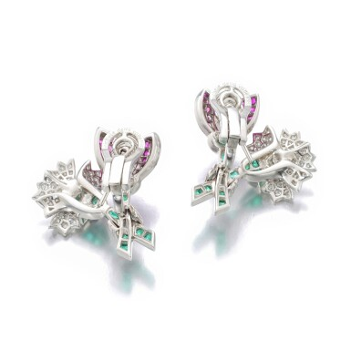 View 3. Thumbnail of Lot 11. MICHELE DELLA VALLE | PAIR OF RUBY, EMERALD AND DIAMOND EAR CLIPS.