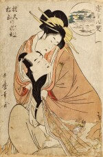 KITAGAWA UTAMARO I, (1750S–1806), EDO PERIOD, LATE 18TH CENTURY | EMOTIONAL TURMOIL FOR WANKYU AND MATSUYAMA (WANKYU MATSUYAMA NO SEIRAN)